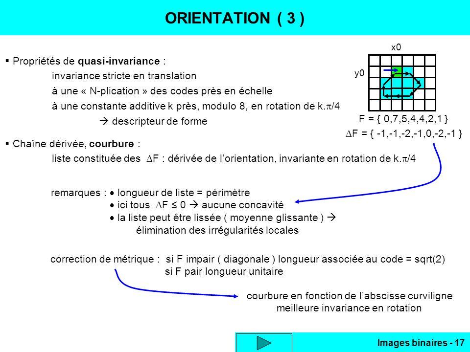 ORIENTATION ( 3 ) Propriétés de quasi-invariance :