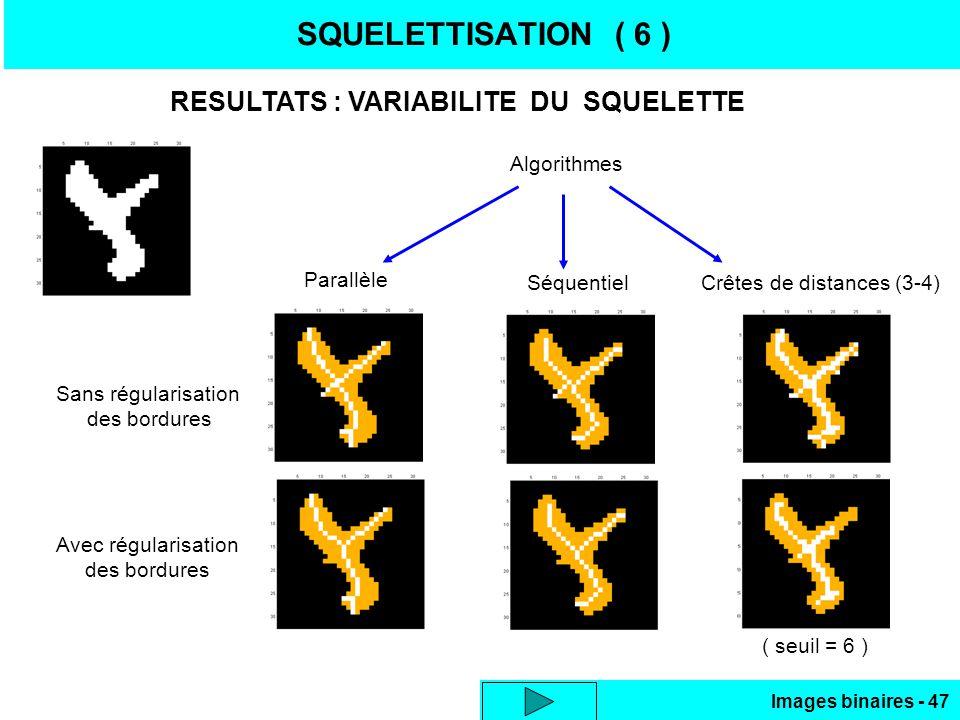 SQUELETTISATION ( 6 ) RESULTATS : VARIABILITE DU SQUELETTE Algorithmes