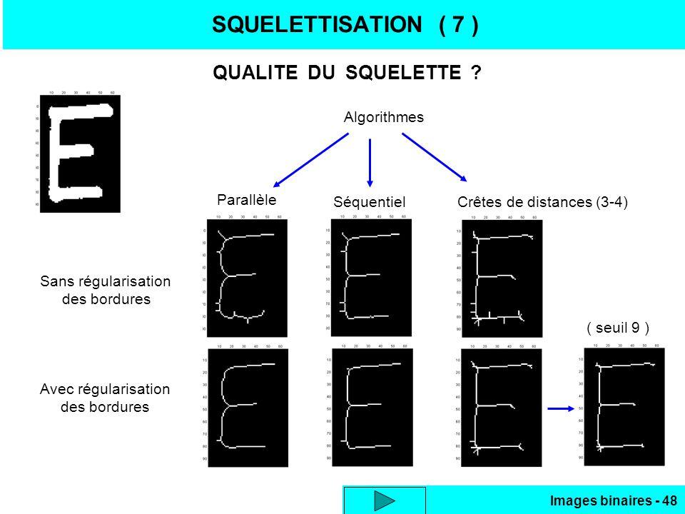 SQUELETTISATION ( 7 ) QUALITE DU SQUELETTE Algorithmes Parallèle