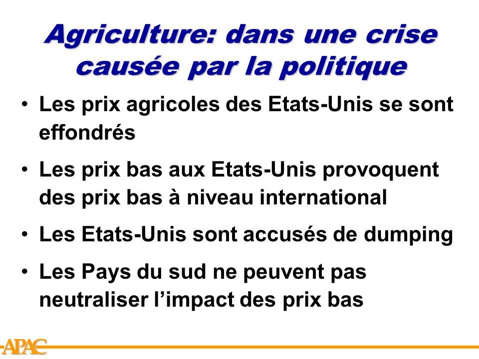 Agriculture: dans une crise causée par la politique