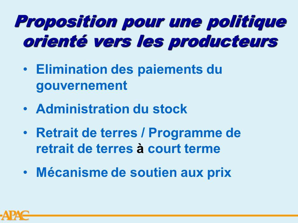 Proposition pour une politique orienté vers les producteurs
