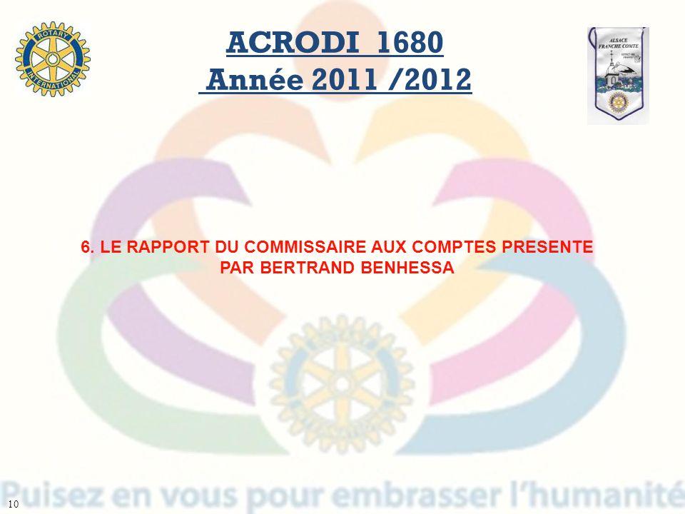 ACRODI 1680 Année 2011 /2012 6. LE RAPPORT DU COMMISSAIRE AUX COMPTES PRESENTE PAR BERTRAND BENHESSA.