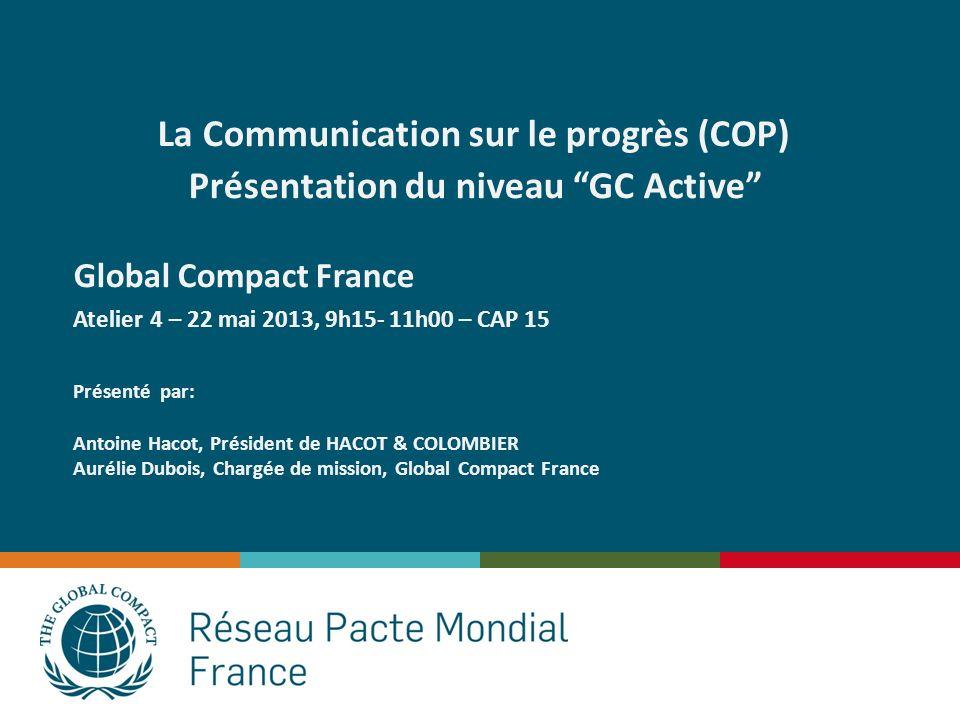 La Communication sur le progrès (COP)