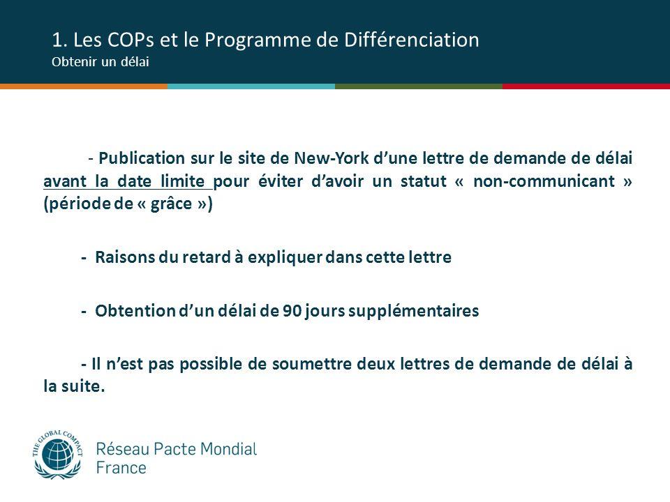1. Les COPs et le Programme de Différenciation Obtenir un délai