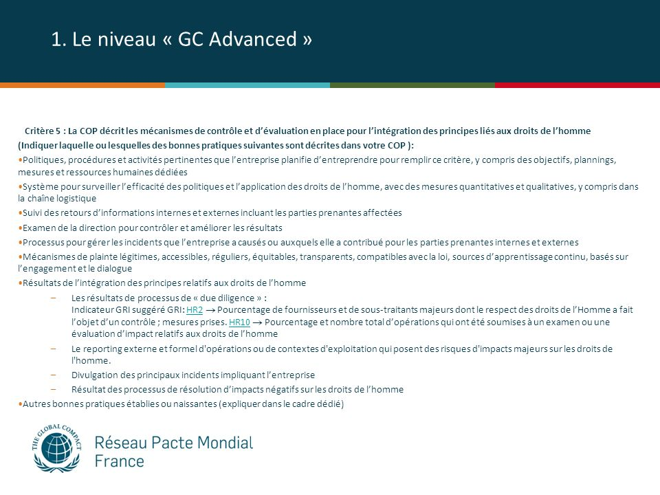 1. Le niveau « GC Advanced »
