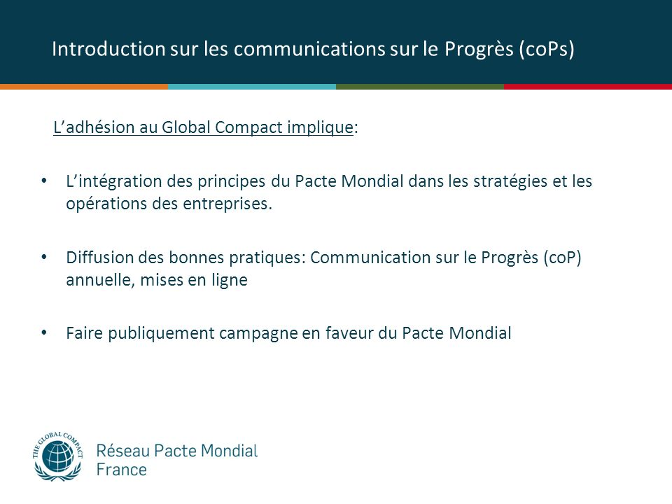 Introduction sur les communications sur le Progrès (coPs)