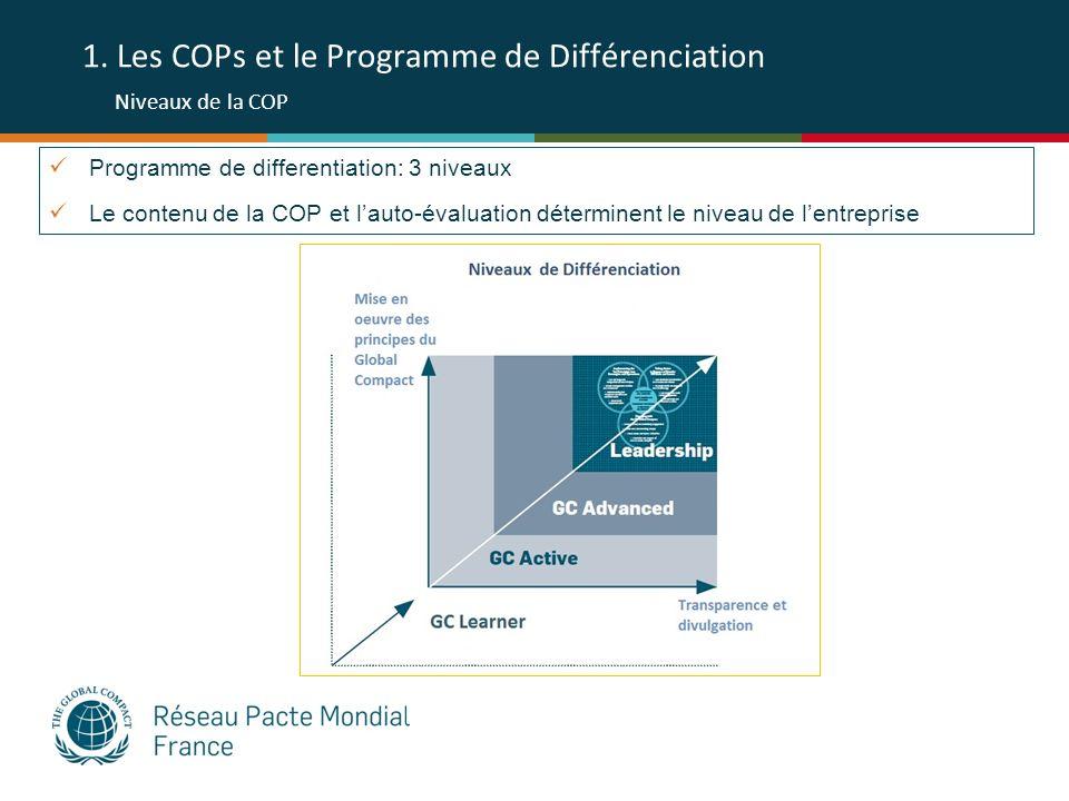 1. Les COPs et le Programme de Différenciation Niveaux de la COP