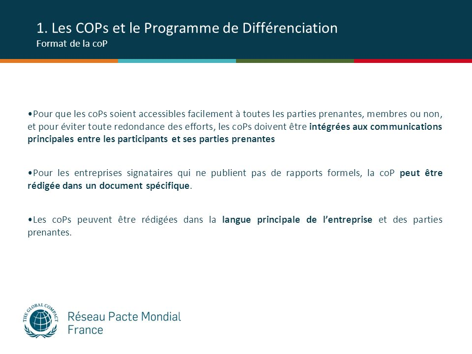 1. Les COPs et le Programme de Différenciation Format de la coP