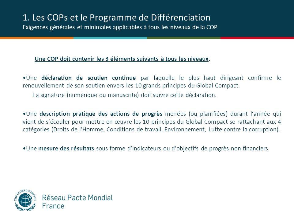 1. Les COPs et le Programme de Différenciation Exigences générales et minimales applicables à tous les niveaux de la COP