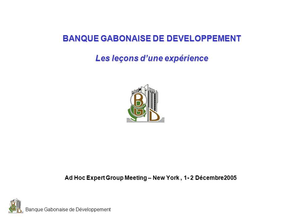 BANQUE GABONAISE DE DEVELOPPEMENT Les leçons d'une expérience
