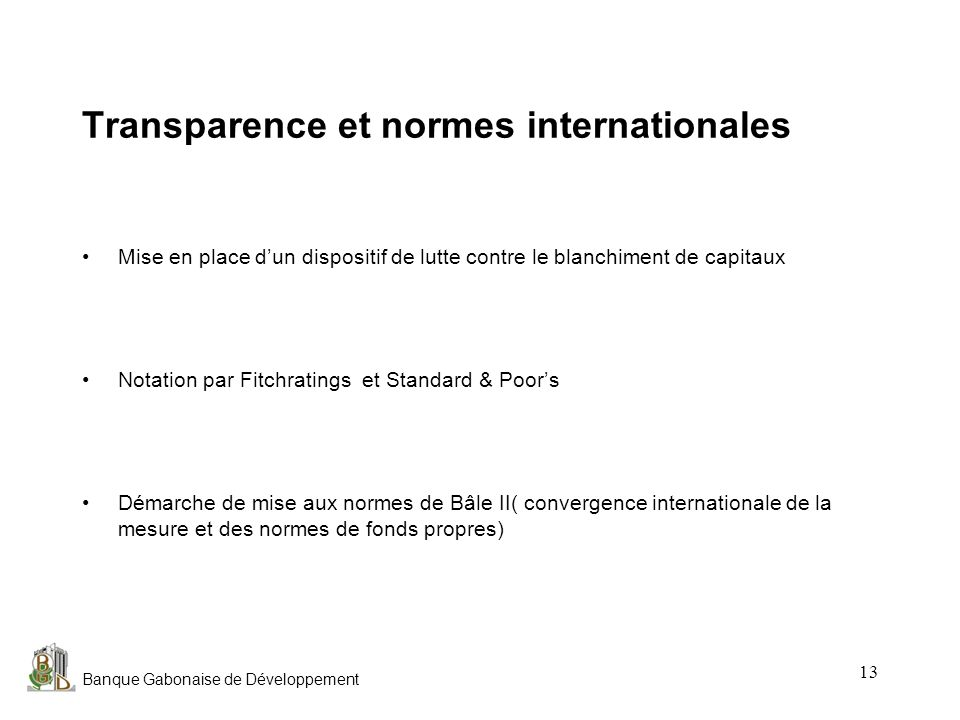 Transparence et normes internationales