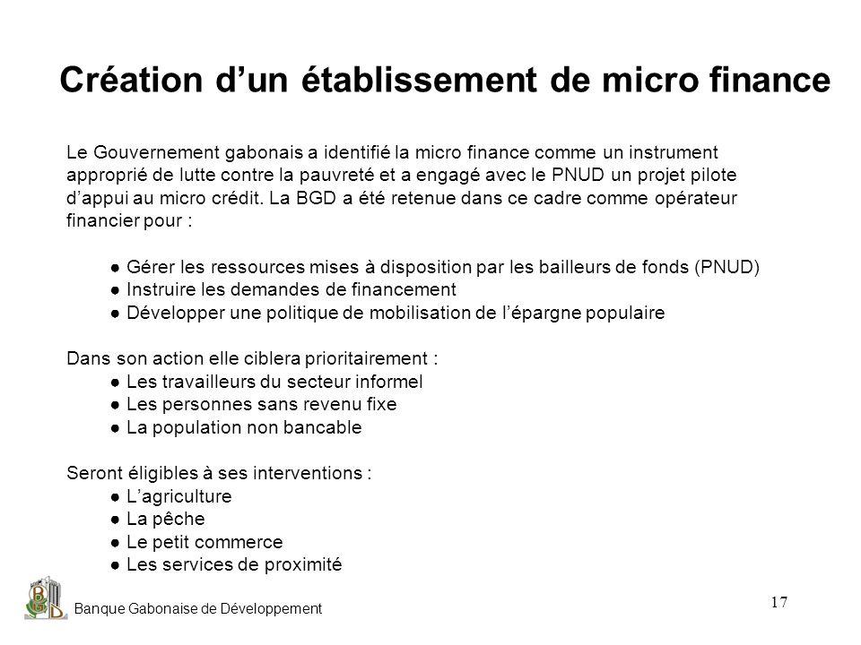 Création d'un établissement de micro finance