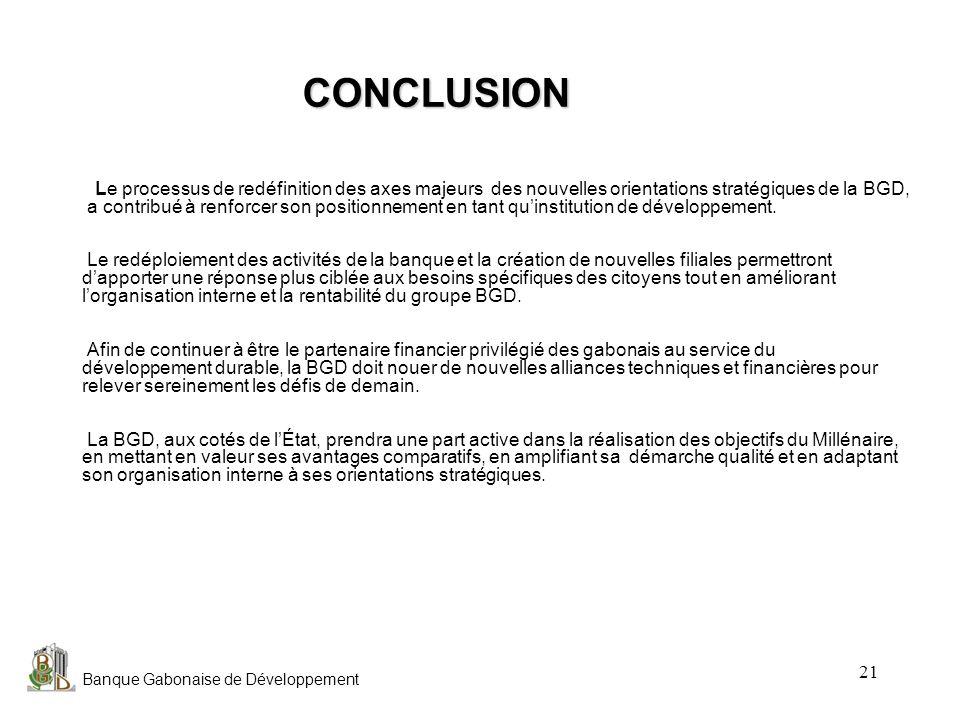 CONCLUSION Le processus de redéfinition des axes majeurs des nouvelles orientations stratégiques de la BGD,