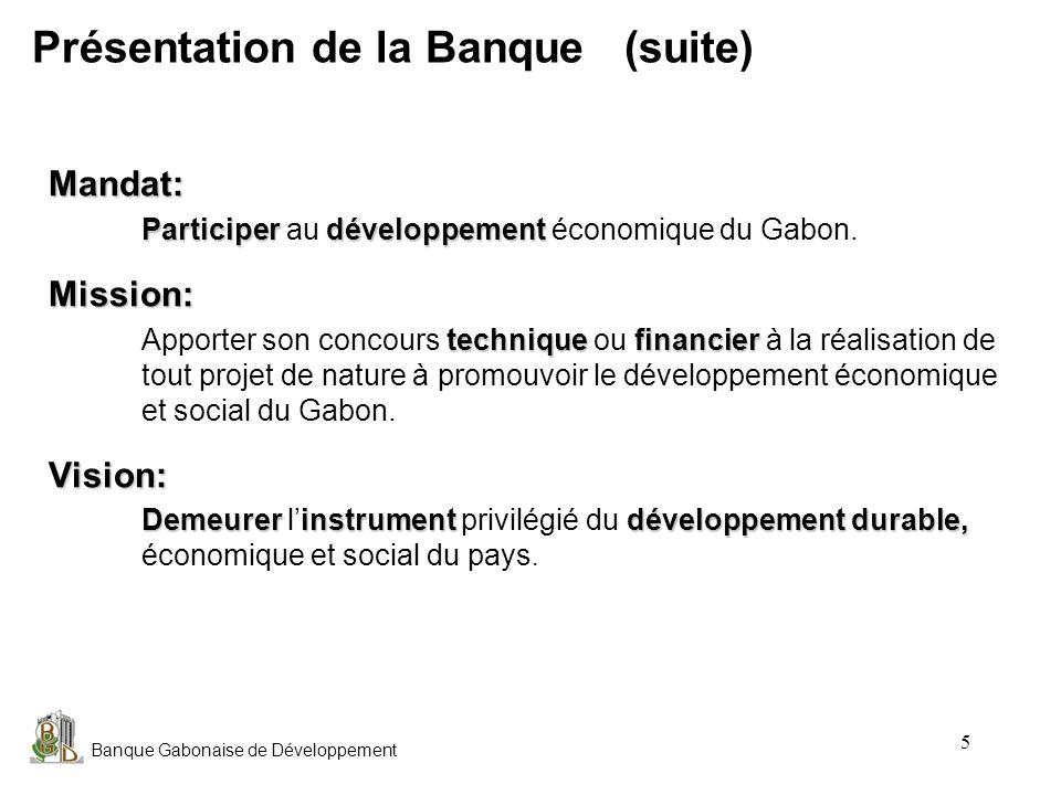Présentation de la Banque (suite)