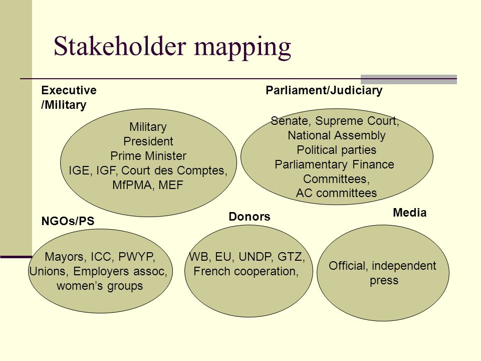 Stakeholder mapping Executive/Military Parliament/Judiciary Military