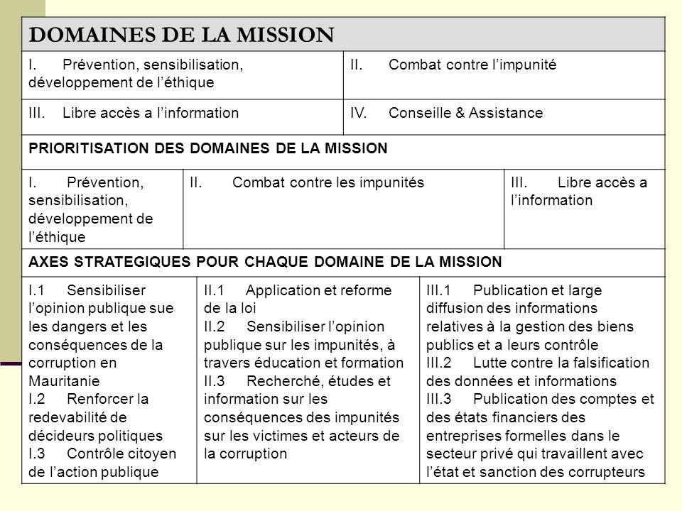 DOMAINES DE LA MISSION I. Prévention, sensibilisation, développement de l'éthique. II. Combat contre l'impunité.