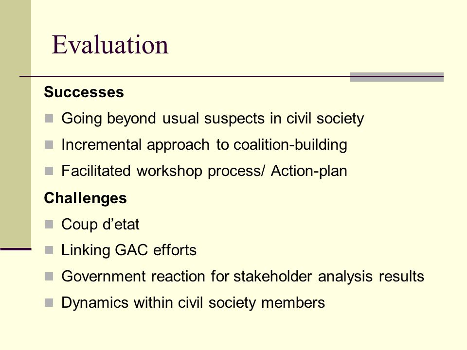 Evaluation Successes Going beyond usual suspects in civil society