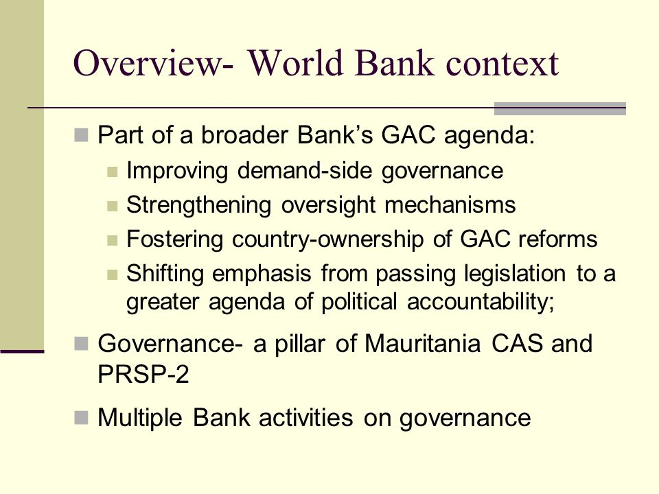 Overview- World Bank context