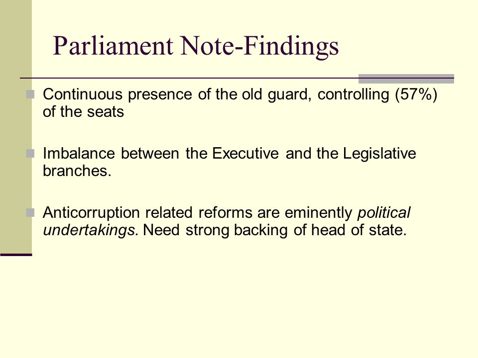 Parliament Note-Findings