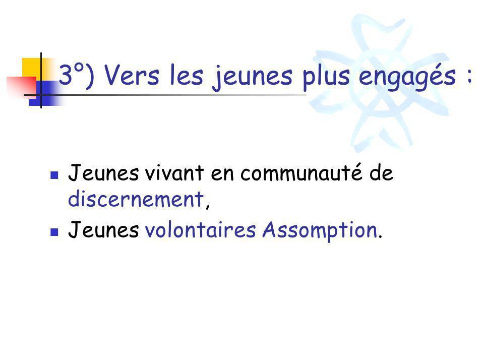 3°) Vers les jeunes plus engagés :