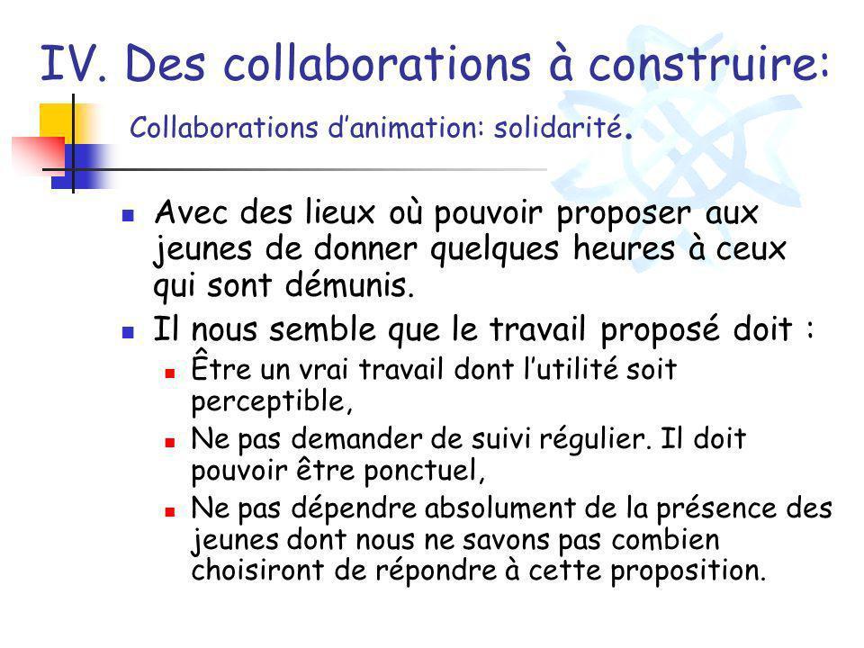 IV. Des collaborations à construire: Collaborations d'animation: solidarité.