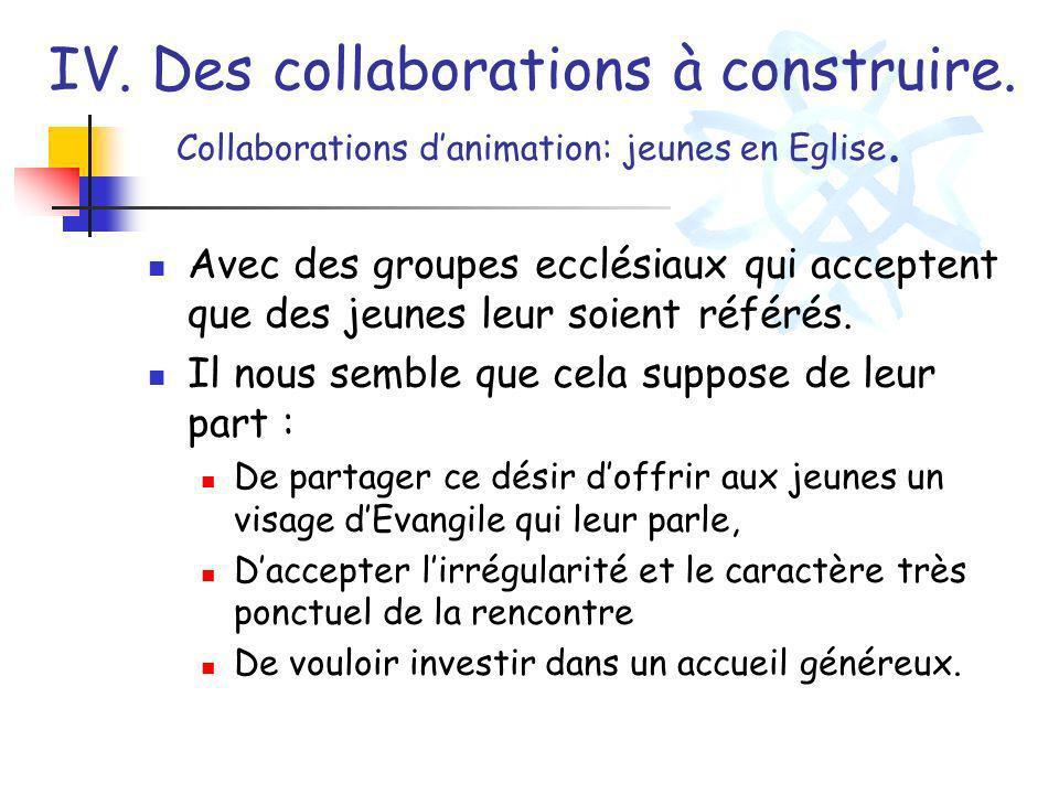 IV. Des collaborations à construire