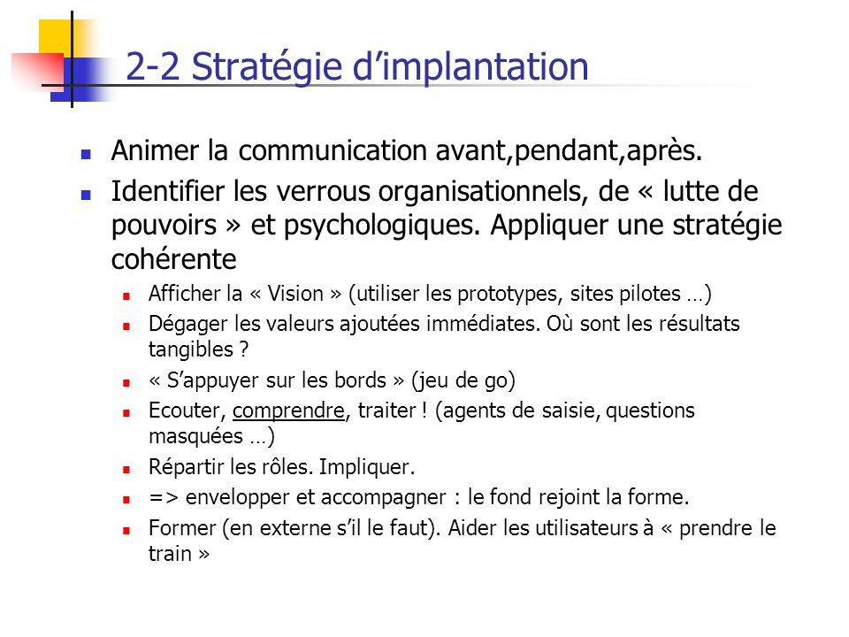 2-2 Stratégie d'implantation