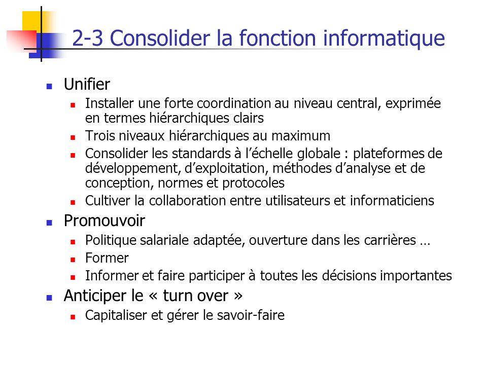 2-3 Consolider la fonction informatique