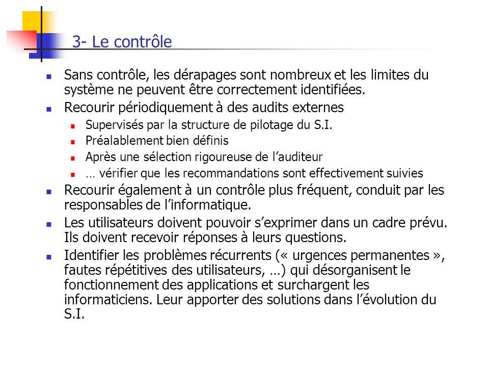 3- Le contrôle Sans contrôle, les dérapages sont nombreux et les limites du système ne peuvent être correctement identifiées.
