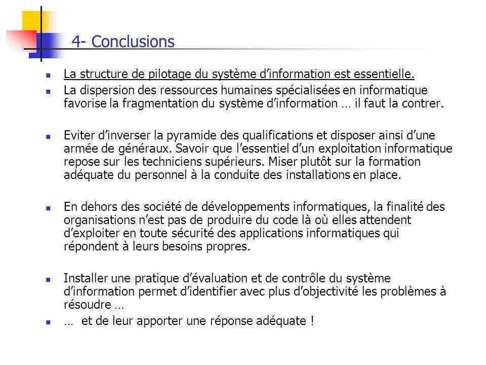 4- Conclusions La structure de pilotage du système d'information est essentielle.