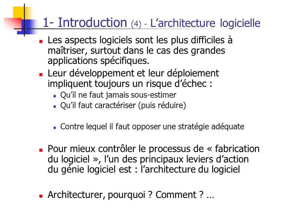 1- Introduction (4) - L'architecture logicielle
