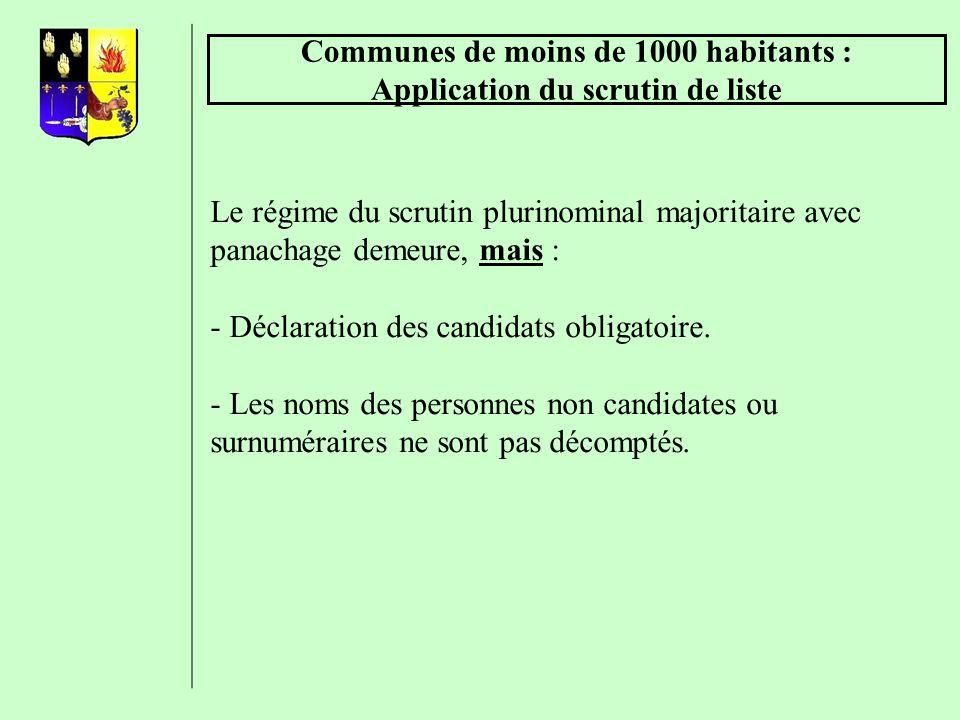 Communes de moins de 1000 habitants : Application du scrutin de liste