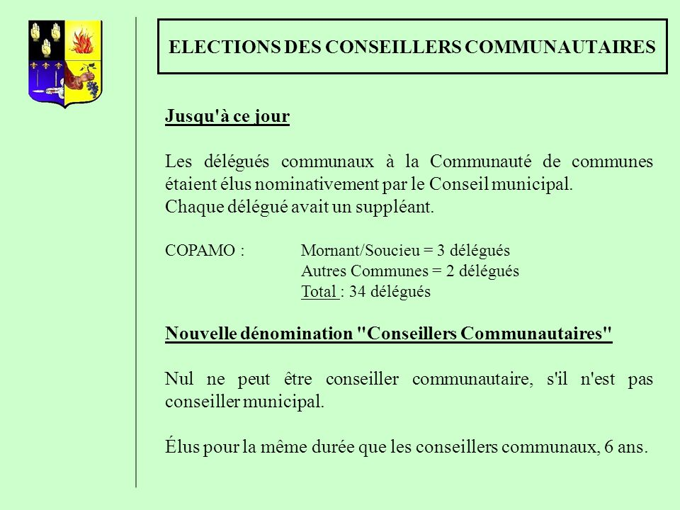 ELECTIONS DES CONSEILLERS COMMUNAUTAIRES