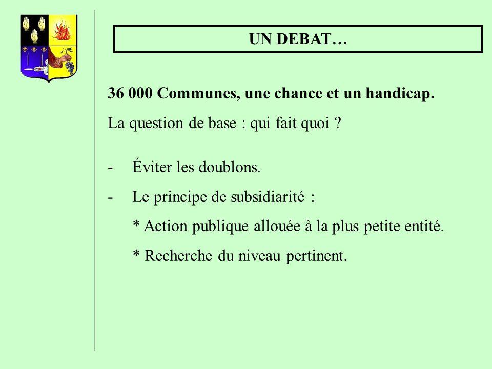 UN DEBAT… 36 000 Communes, une chance et un handicap. La question de base : qui fait quoi Éviter les doublons.