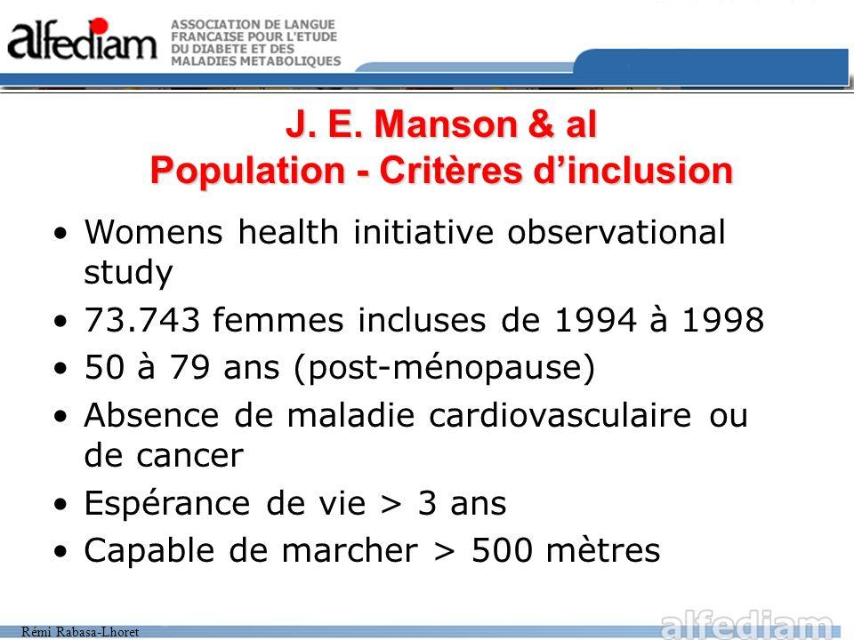 J. E. Manson & al Population - Critères d'inclusion