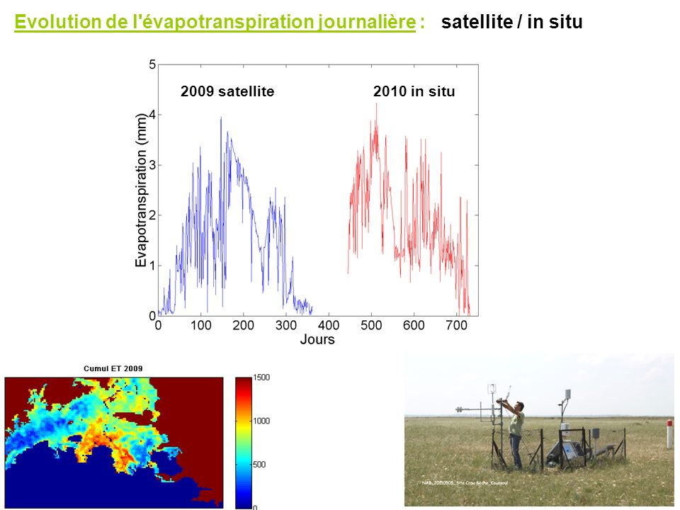 Evolution de l évapotranspiration journalière : satellite / in situ