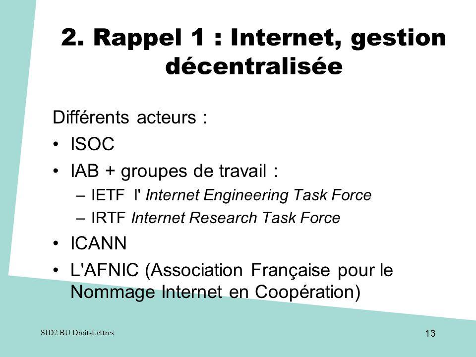 2. Rappel 1 : Internet, gestion décentralisée