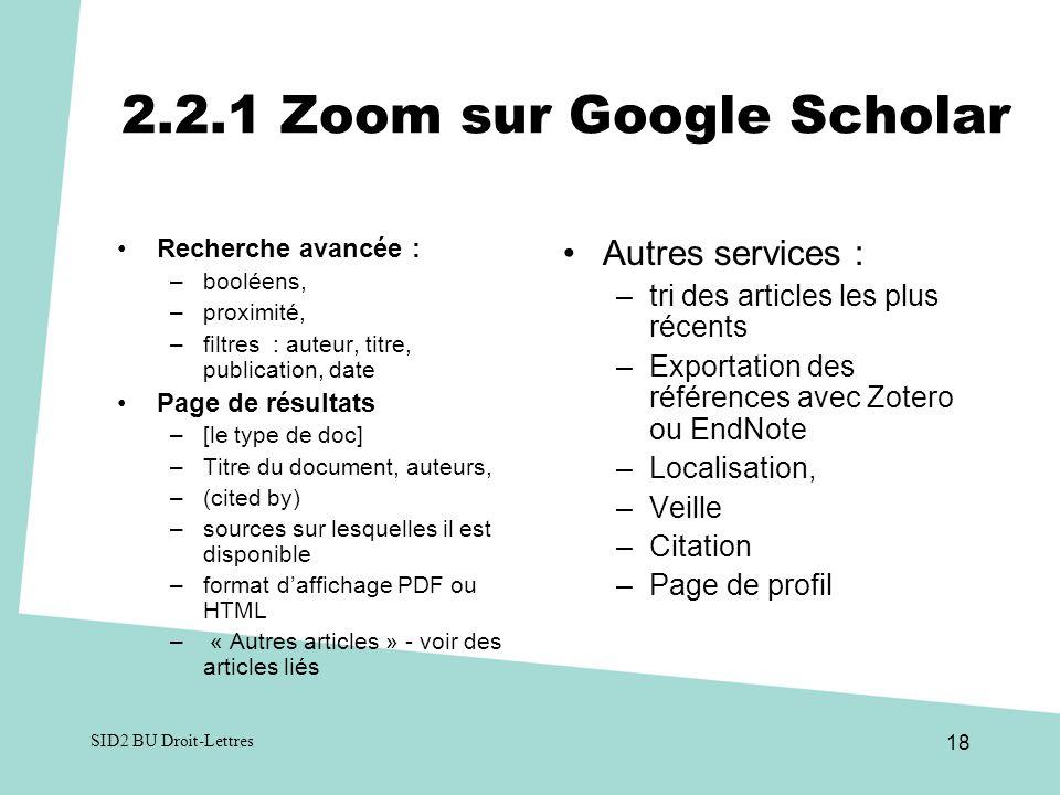 2.2.1 Zoom sur Google Scholar