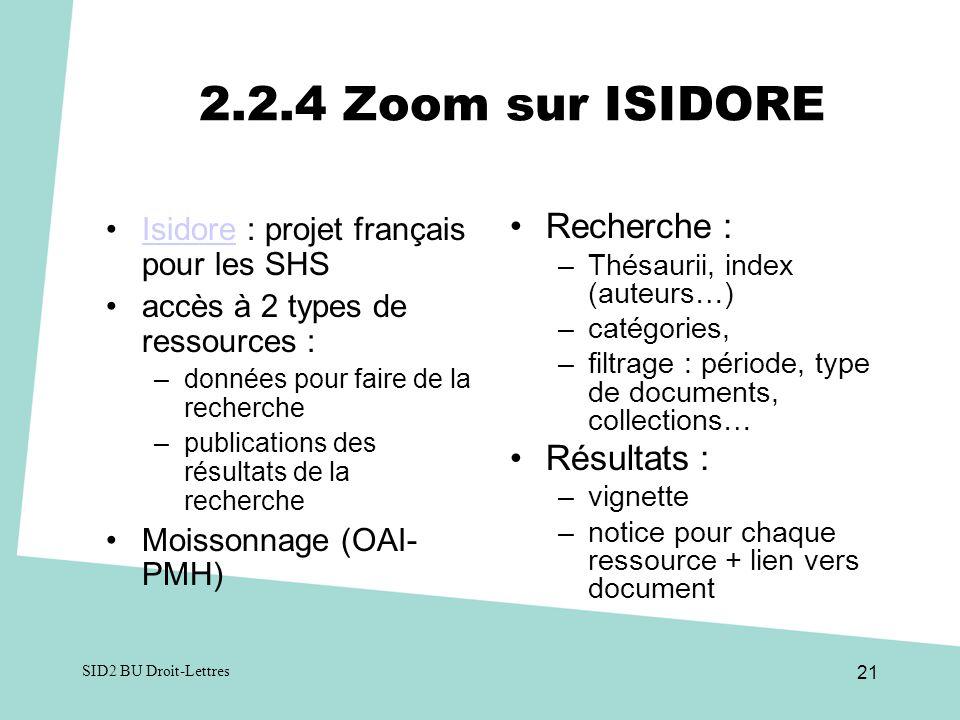 2.2.4 Zoom sur ISIDORE Recherche : Résultats :