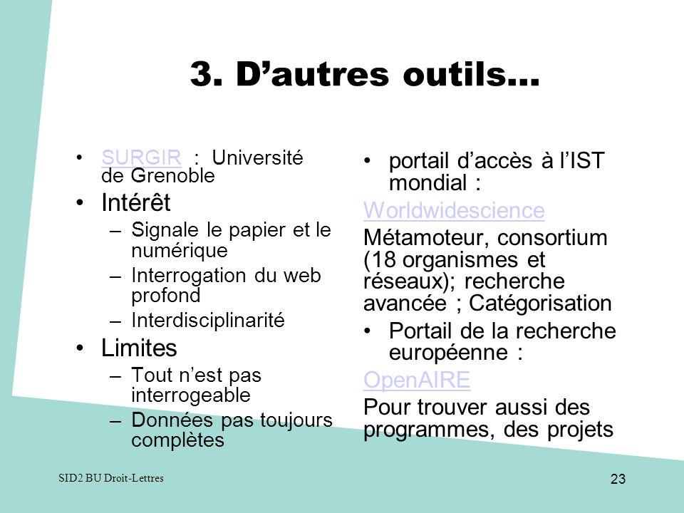 3. D'autres outils… Intérêt Limites portail d'accès à l'IST mondial :
