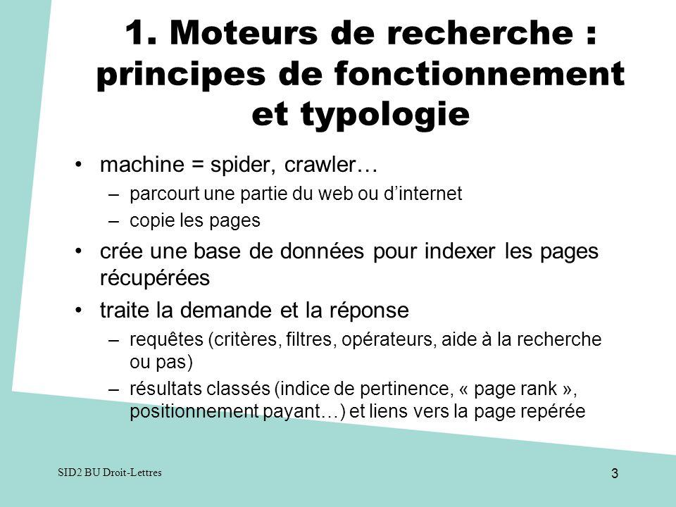 1. Moteurs de recherche : principes de fonctionnement et typologie