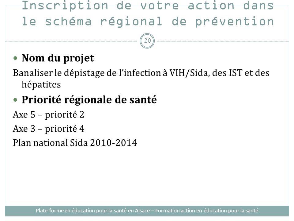 Inscription de votre action dans le schéma régional de prévention