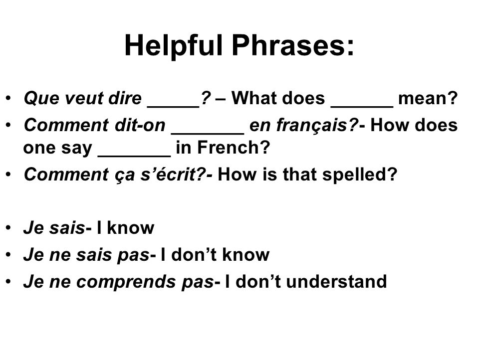Helpful Phrases: Que veut dire _____ – What does ______ mean