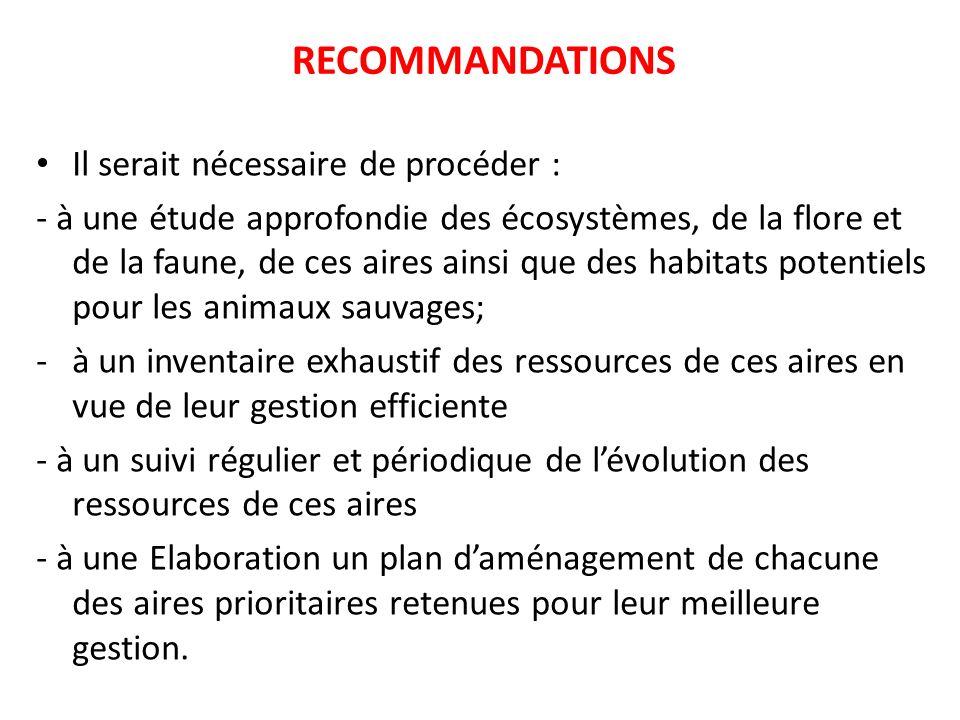 RECOMMANDATIONS Il serait nécessaire de procéder :