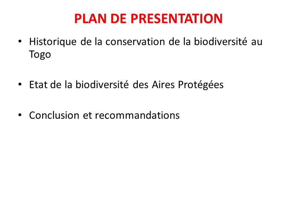 PLAN DE PRESENTATION Historique de la conservation de la biodiversité au Togo. Etat de la biodiversité des Aires Protégées.