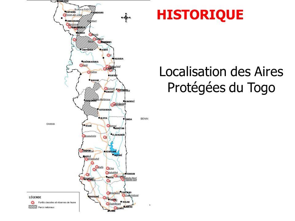 Localisation des Aires Protégées du Togo
