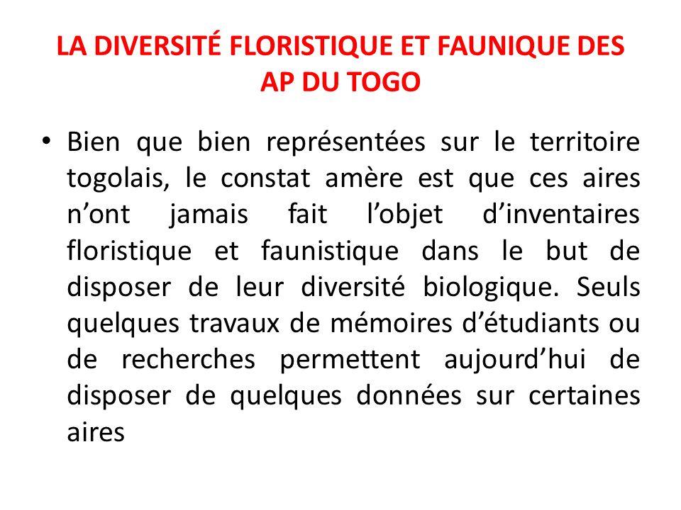 LA DIVERSITÉ FLORISTIQUE ET FAUNIQUE DES AP DU TOGO