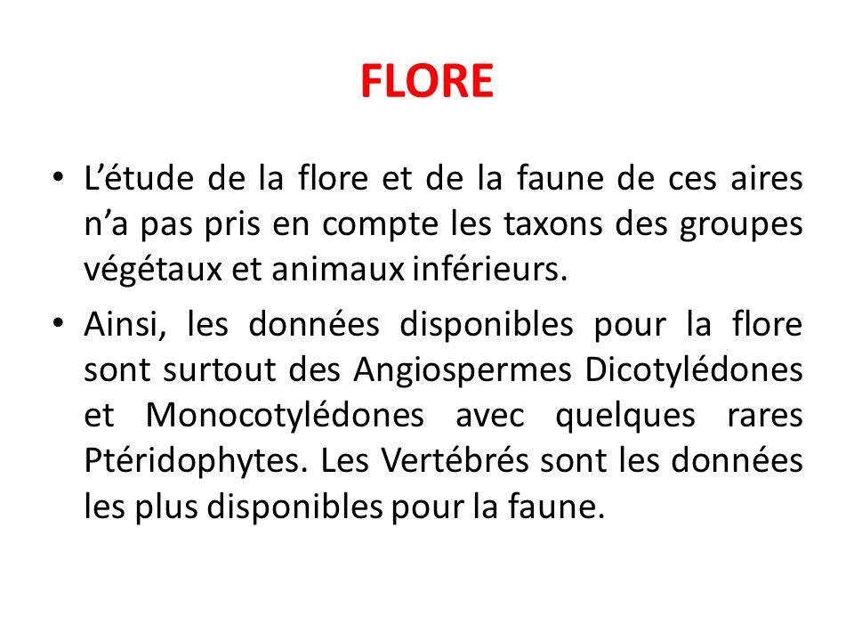 FLORE L'étude de la flore et de la faune de ces aires n'a pas pris en compte les taxons des groupes végétaux et animaux inférieurs.