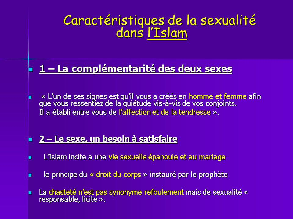Caractéristiques de la sexualité dans l'Islam