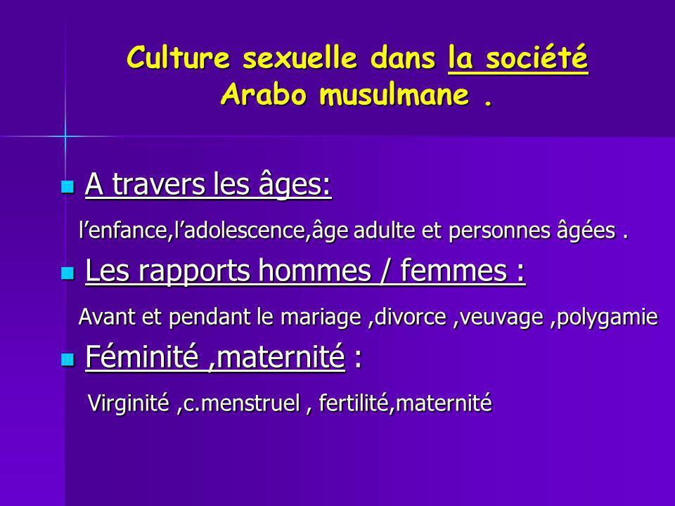 Culture sexuelle dans la société Arabo musulmane .